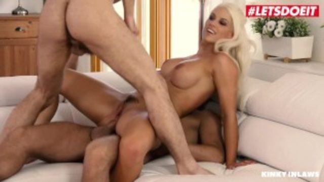 LETSDOEIT – Busty Mommy Blanche Bradburry DP'ed By Her Step-Son And His BFF