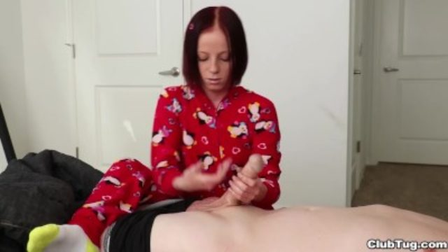 Tiny Girl scout PUMPS his Hard Cock and Gets Jizzed On
